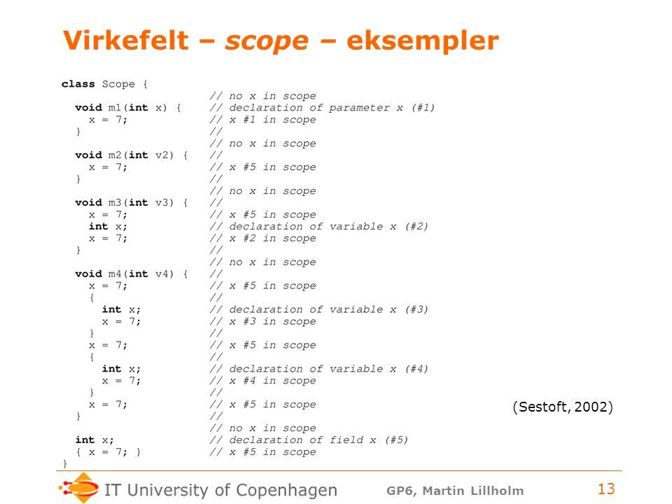 GP6, Martin Lillholm 13 Virkefelt – scope – eksempler (Sestoft, 2002)