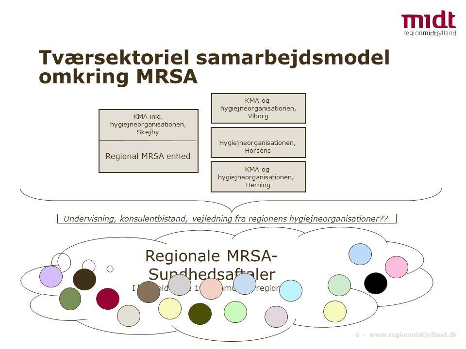 6 ▪ www.regionmidtjylland.dk Tværsektoriel samarbejdsmodel omkring MRSA Regionale MRSA- Sundhedsaftaler I henhold til de 19 kommuner i regionen KMA inkl.