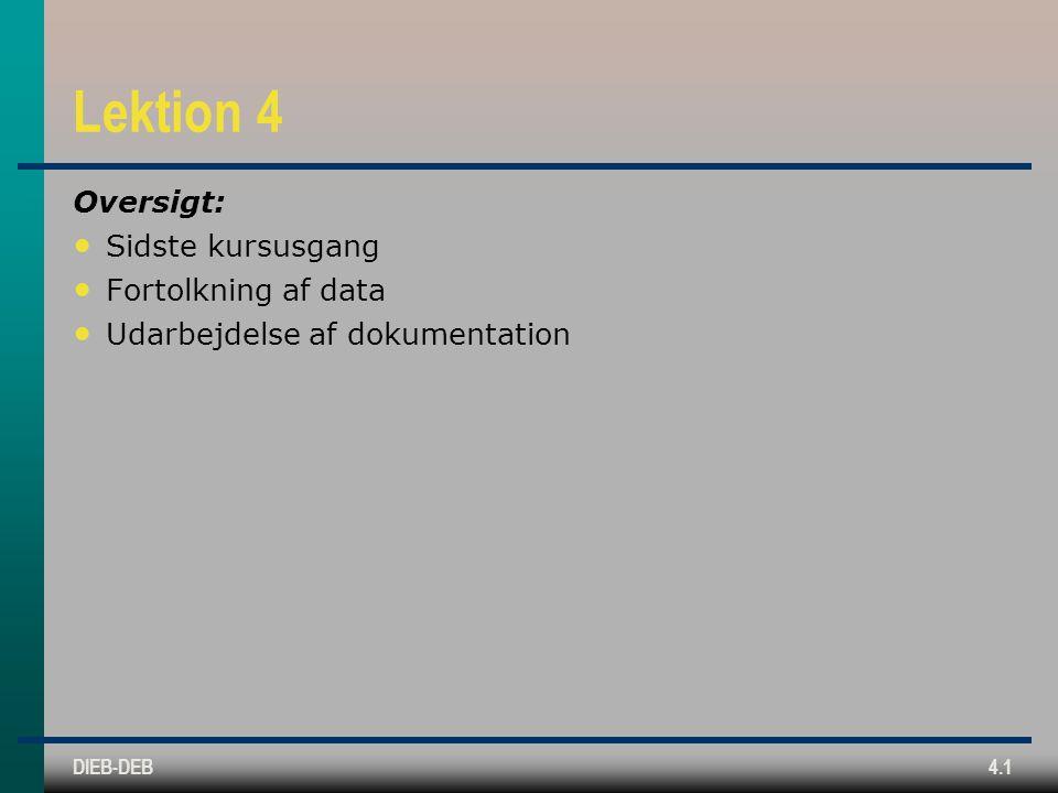 DIEB-DEB4.1 Lektion 4 Oversigt: Sidste kursusgang Fortolkning af data Udarbejdelse af dokumentation