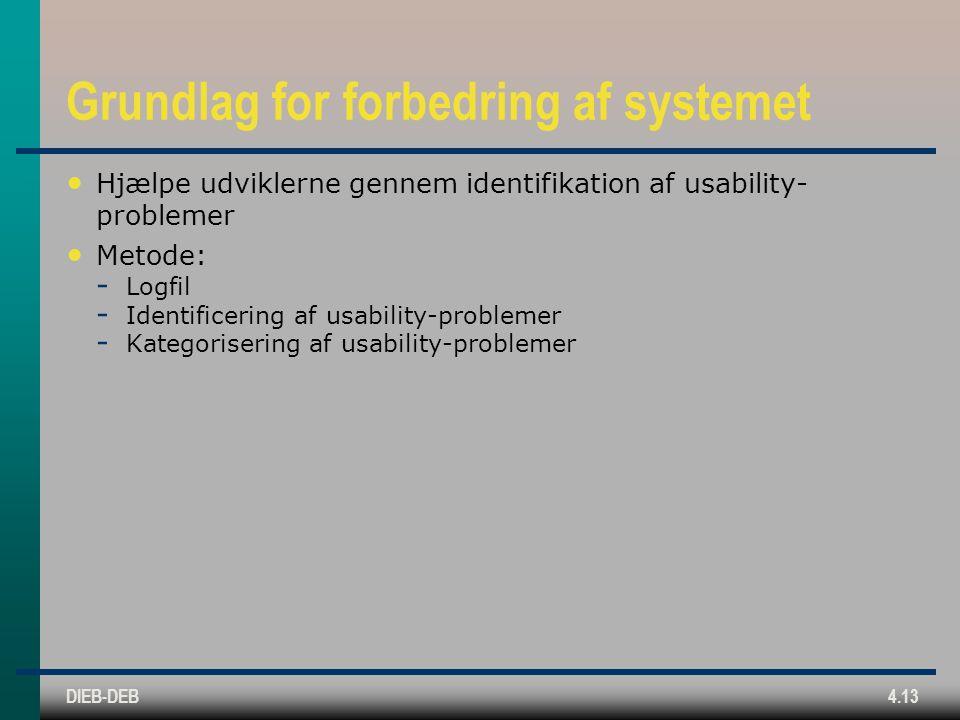 DIEB-DEB4.13 Grundlag for forbedring af systemet Hjælpe udviklerne gennem identifikation af usability- problemer Metode:  Logfil  Identificering af usability-problemer  Kategorisering af usability-problemer