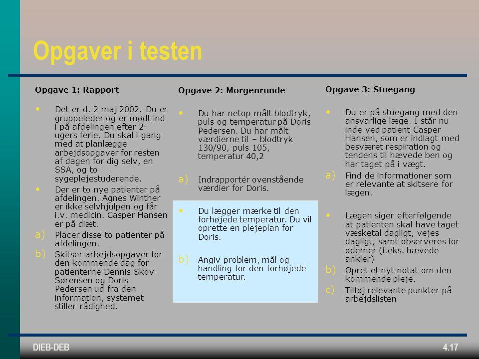 DIEB-DEB4.17 Opgaver i testen Opgave 1: Rapport Det er d.
