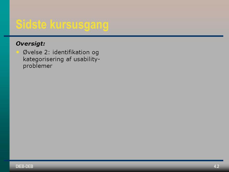 DIEB-DEB4.2 Sidste kursusgang Oversigt: Øvelse 2: identifikation og kategorisering af usability- problemer