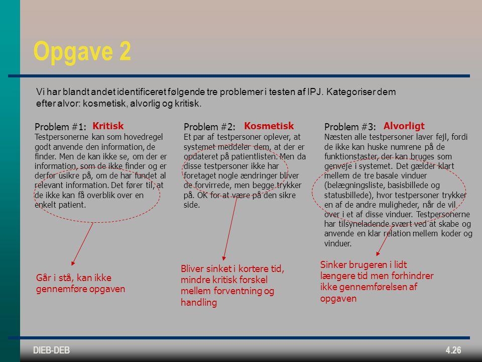 DIEB-DEB4.26 Opgave 2 Problem #1: Testpersonerne kan som hovedregel godt anvende den information, de finder.