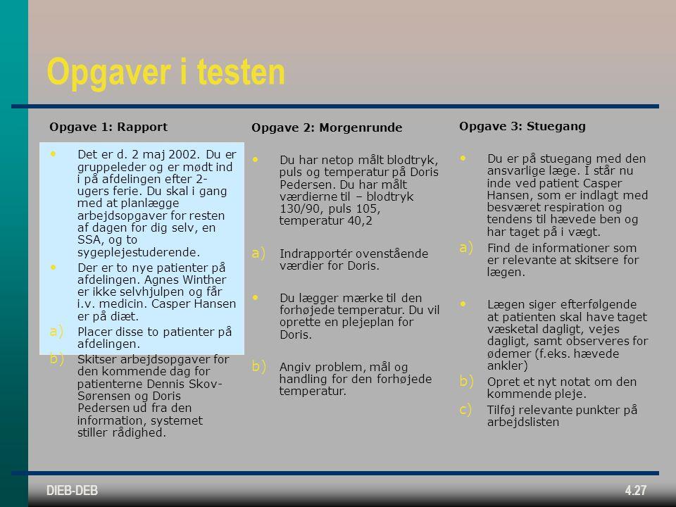 DIEB-DEB4.27 Opgaver i testen Opgave 1: Rapport Det er d.