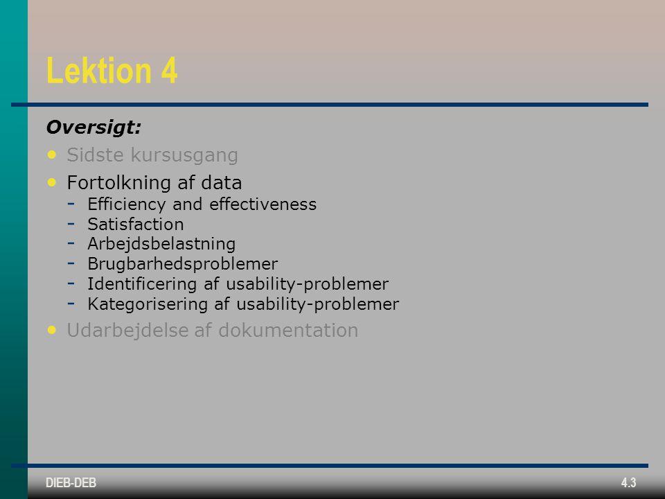 DIEB-DEB4.3 Lektion 4 Oversigt: Sidste kursusgang Fortolkning af data  Efficiency and effectiveness  Satisfaction  Arbejdsbelastning  Brugbarhedsproblemer  Identificering af usability-problemer  Kategorisering af usability-problemer Udarbejdelse af dokumentation