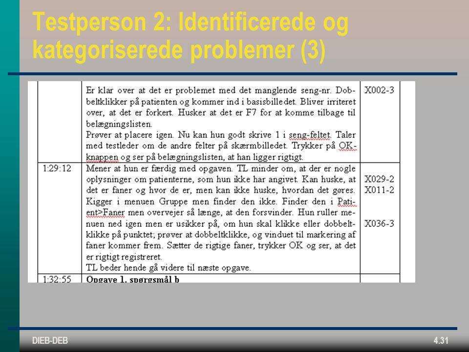 DIEB-DEB4.31 Testperson 2: Identificerede og kategoriserede problemer (3)