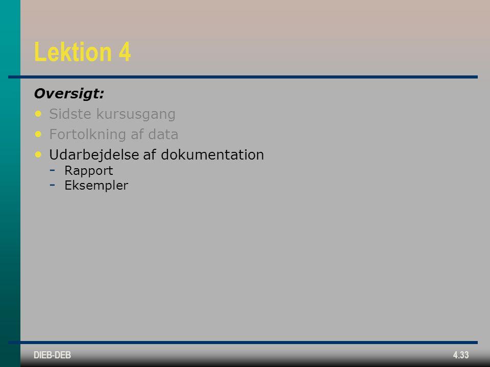 DIEB-DEB4.33 Lektion 4 Oversigt: Sidste kursusgang Fortolkning af data Udarbejdelse af dokumentation  Rapport  Eksempler