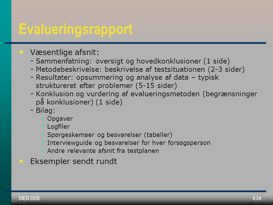 DIEB-DEB4.34 Evalueringsrapport Væsentlige afsnit:  Sammenfatning: oversigt og hovedkonklusioner (1 side)  Metodebeskrivelse: beskrivelse af testsituationen (2-3 sider)  Resultater: opsummering og analyse af data – typisk struktureret efter problemer (5-15 sider)  Konklusion og vurdering af evalueringsmetoden (begrænsninger på konklusioner) (1 side)  Bilag: Opgaver Logfiler Spørgeskemaer og besvarelser (tabeller) Interviewguide og besvarelser for hver forsøgsperson Andre relevante afsnit fra testplanen Eksempler sendt rundt