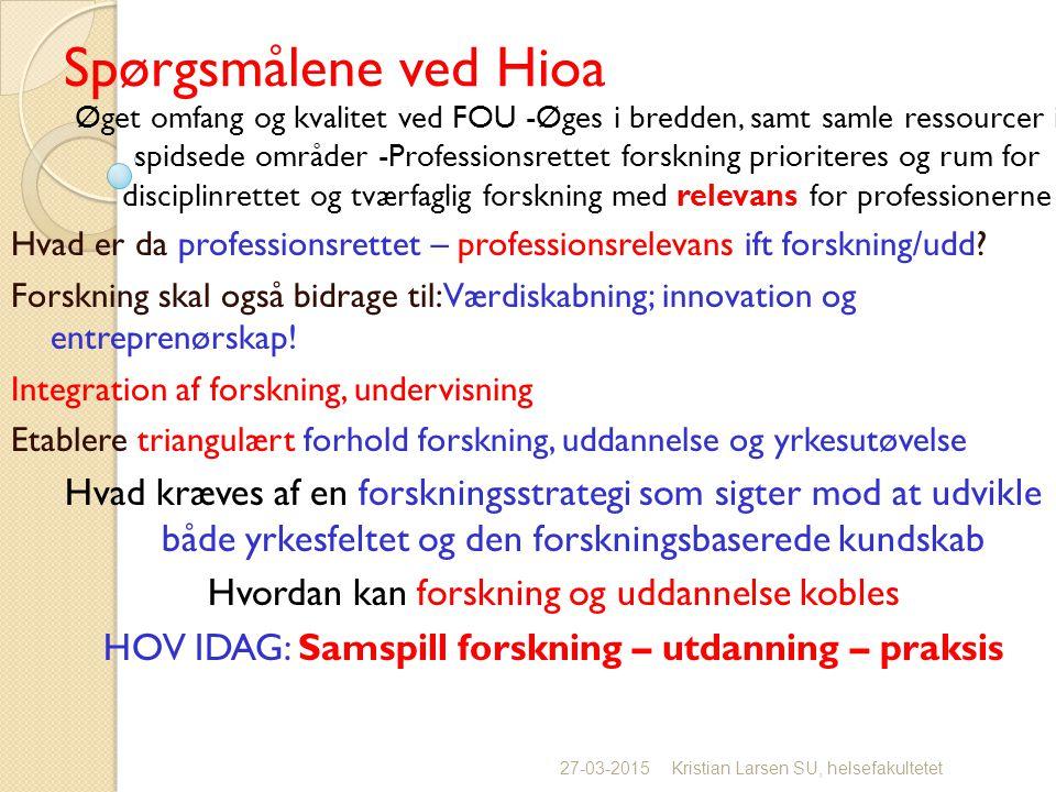 Spørgsmålene ved Hioa Øget omfang og kvalitet ved FOU -Øges i bredden, samt samle ressourcer i spidsede områder -Professionsrettet forskning prioriteres og rum for disciplinrettet og tværfaglig forskning med relevans for professionerne Hvad er da professionsrettet – professionsrelevans ift forskning/udd.