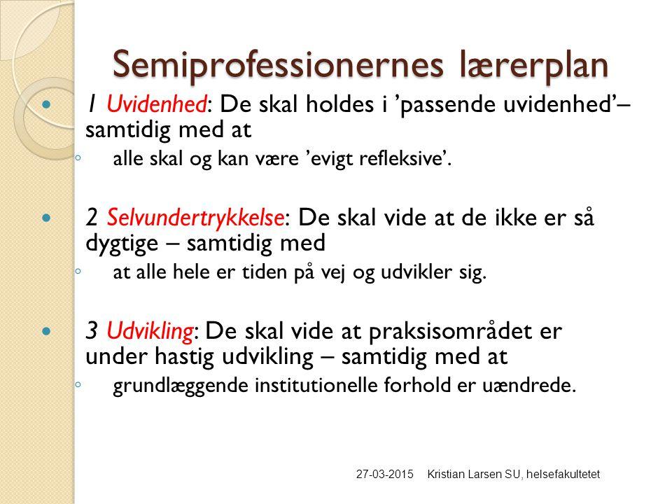 Semiprofessionernes lærerplan 27-03-2015Kristian Larsen SU, helsefakultetet 1 Uvidenhed: De skal holdes i 'passende uvidenhed'– samtidig med at ◦ alle skal og kan være 'evigt refleksive'.