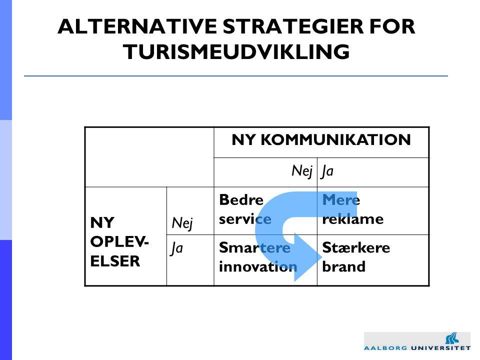 ALTERNATIVE STRATEGIER FOR TURISMEUDVIKLING NY KOMMUNIKATION NejJa NY OPLEV- ELSER Nej Bedre service Mere reklame JaSmartere innovation Stærkere brand