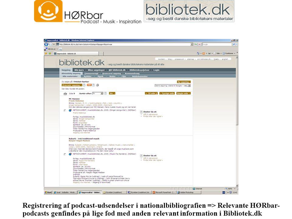 Registrering af podcast-udsendelser i nationalbibliografien => Relevante HØRbar- podcasts genfindes på lige fod med anden relevant information i Bibliotek.dk
