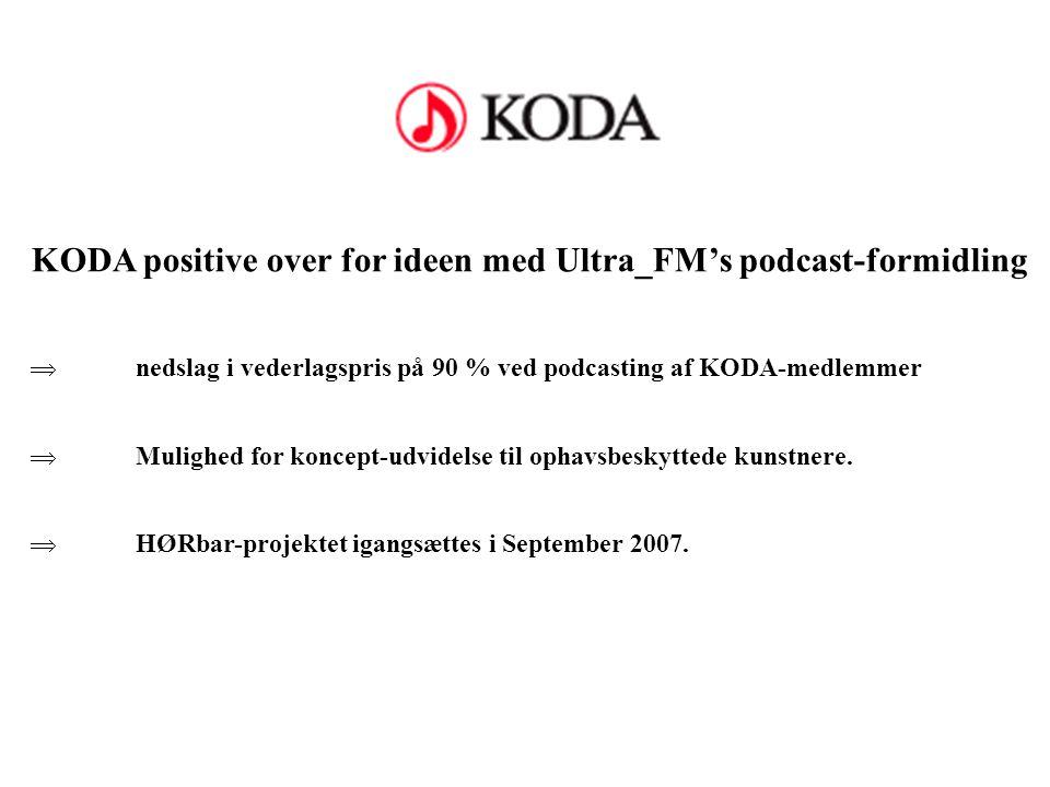 KODA positive over for ideen med Ultra_FM's podcast-formidling  nedslag i vederlagspris på 90 % ved podcasting af KODA-medlemmer  Mulighed for koncept-udvidelse til ophavsbeskyttede kunstnere.