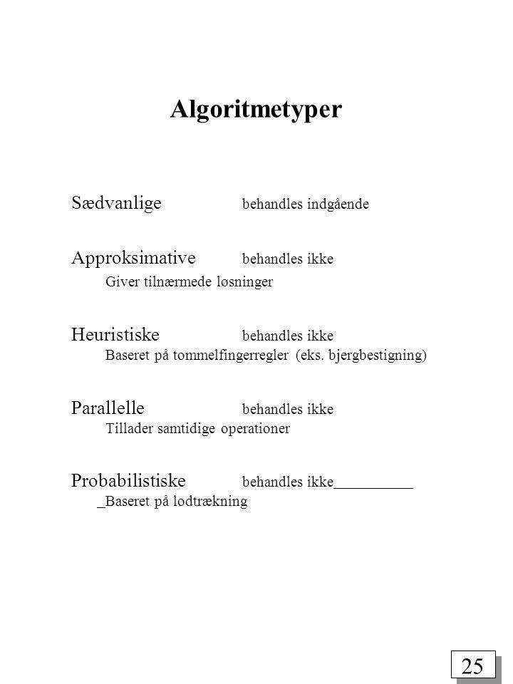 25 Algoritmetyper Sædvanlige behandles indgående Approksimative behandles ikke Giver tilnærmede løsninger Heuristiske behandles ikke Baseret på tommelfingerregler (eks.