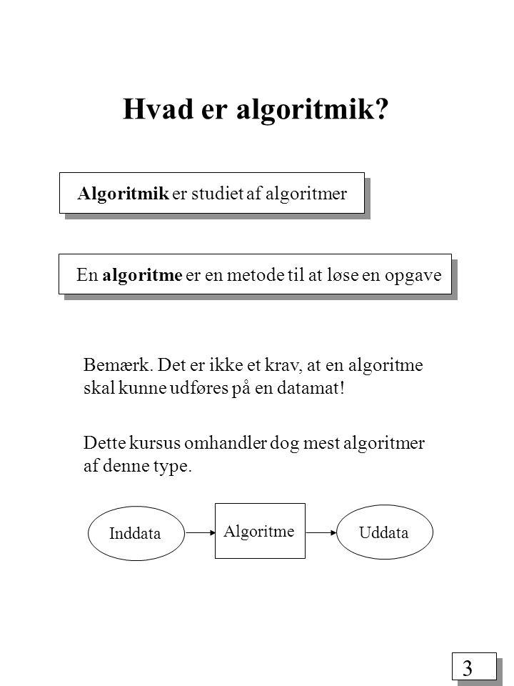 3 Algoritmik er studiet af algoritmer Hvad er algoritmik.