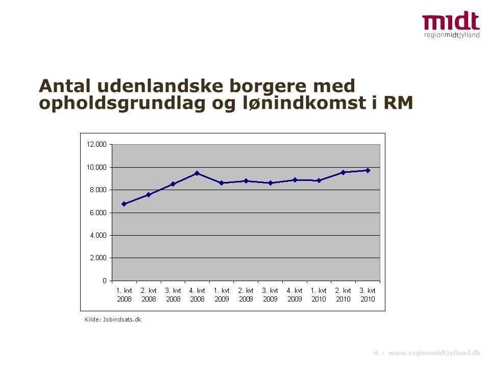 4 ▪ www.regionmidtjylland.dk Antal udenlandske borgere med opholdsgrundlag og lønindkomst i RM Kilde: Jobindsats.dk
