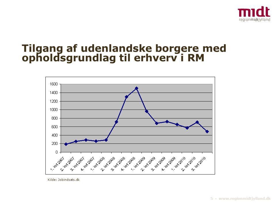 5 ▪ www.regionmidtjylland.dk Tilgang af udenlandske borgere med opholdsgrundlag til erhverv i RM Kilde: Jobindsats.dk