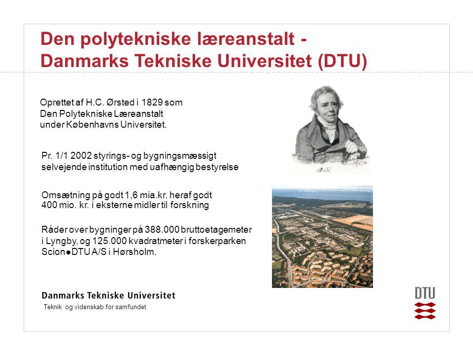Teknik og videnskab for samfundet Den polytekniske læreanstalt - Danmarks Tekniske Universitet (DTU) Oprettet af H.C.