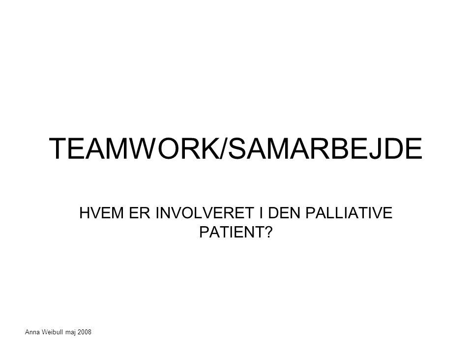 TEAMWORK/SAMARBEJDE HVEM ER INVOLVERET I DEN PALLIATIVE PATIENT Anna Weibull maj 2008