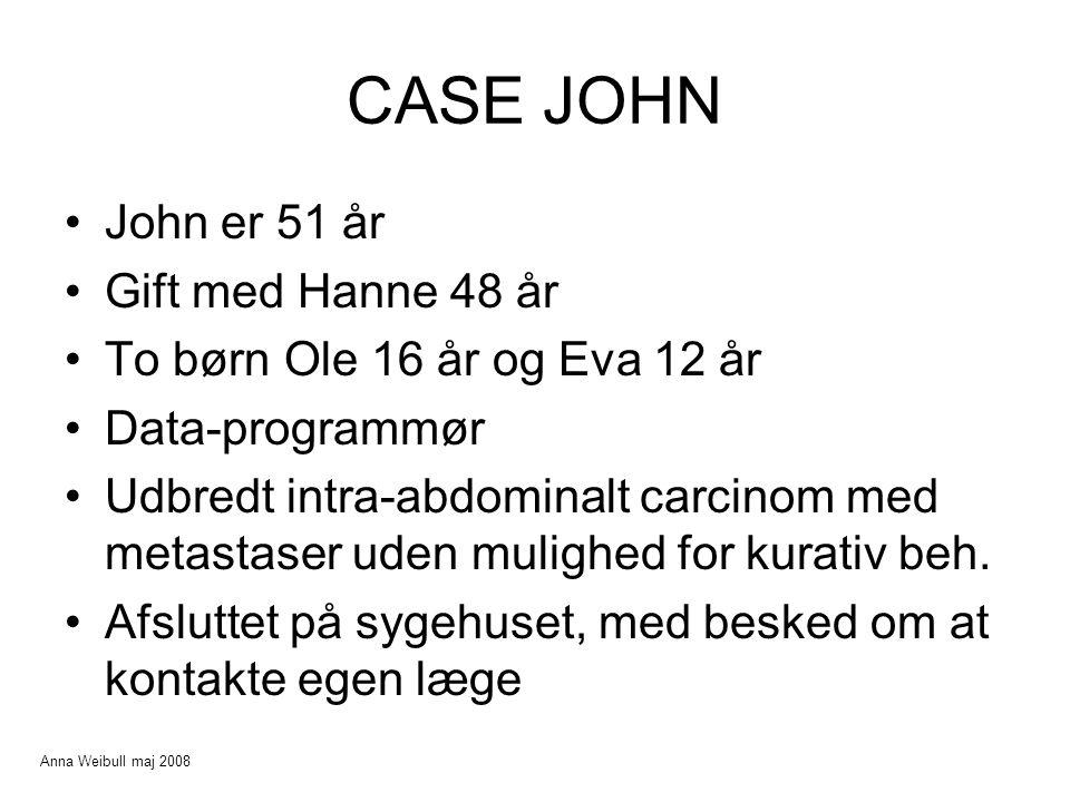 CASE JOHN John er 51 år Gift med Hanne 48 år To børn Ole 16 år og Eva 12 år Data-programmør Udbredt intra-abdominalt carcinom med metastaser uden mulighed for kurativ beh.