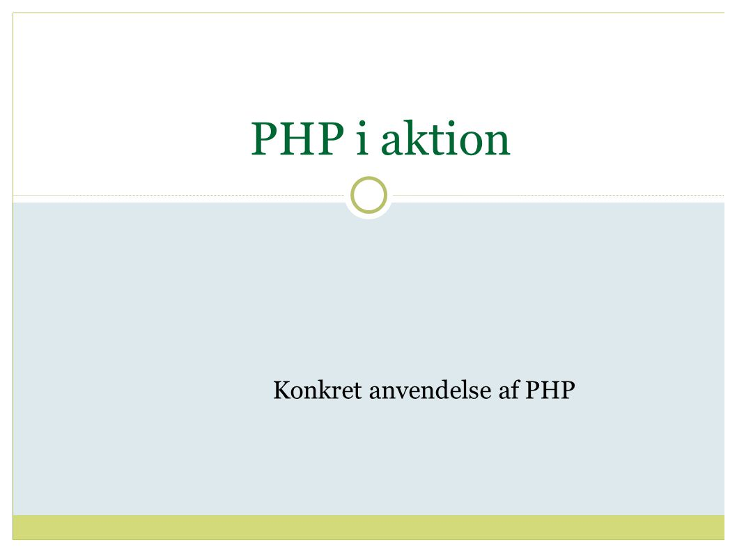 PHP i aktion Konkret anvendelse af PHP