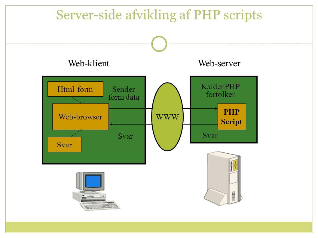 Web-klientWeb-server PHP Script Html-form Sender form data Kalder PHP fortolker Svar Web-browser WWW Svar Server-side afvikling af PHP scripts