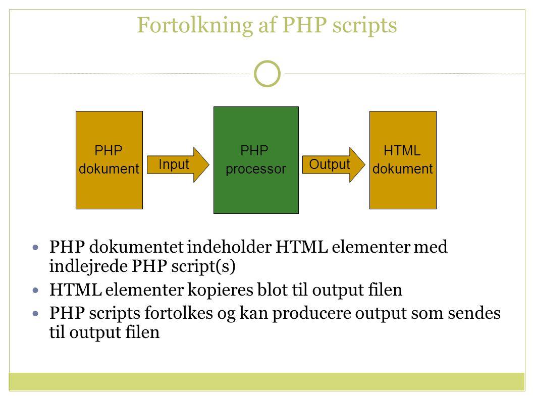 Fortolkning af PHP scripts PHP processor PHP dokument HTML dokument InputOutput PHP dokumentet indeholder HTML elementer med indlejrede PHP script(s) HTML elementer kopieres blot til output filen PHP scripts fortolkes og kan producere output som sendes til output filen