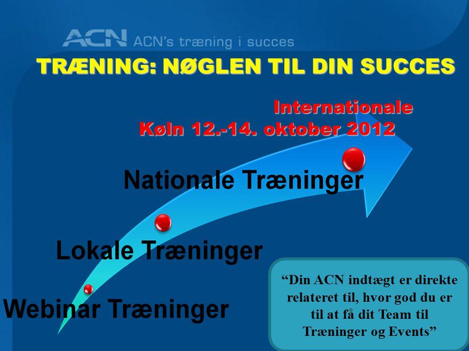 TRÆNING: NØGLEN TIL DIN SUCCES Din ACN indtægt er direkte relateret til, hvor god du er til at få dit Team til Træninger og Events Internationale Internationale Køln 12.-14.