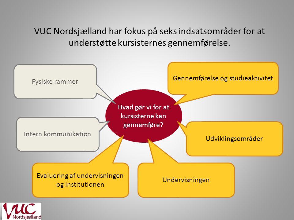 VUC Nordsjælland har fokus på seks indsatsområder for at understøtte kursisternes gennemførelse.