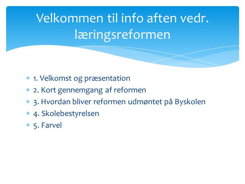  1. Velkomst og præsentation  2. Kort gennemgang af reformen  3.