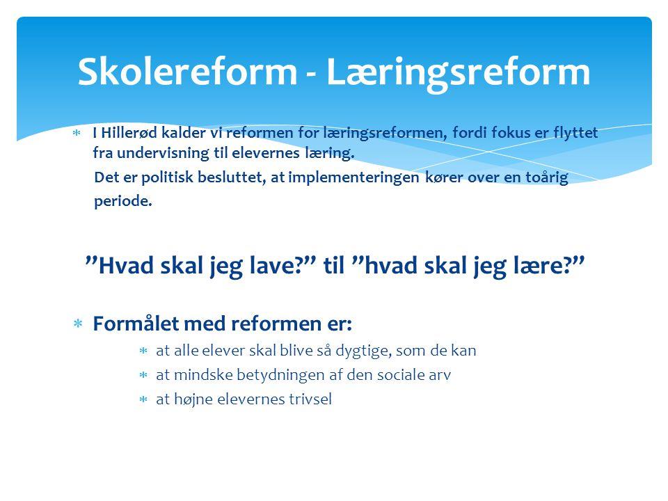  I Hillerød kalder vi reformen for læringsreformen, fordi fokus er flyttet fra undervisning til elevernes læring.