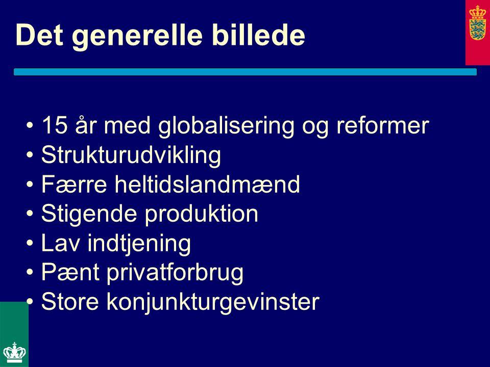 Det generelle billede 15 år med globalisering og reformer Strukturudvikling Færre heltidslandmænd Stigende produktion Lav indtjening Pænt privatforbrug Store konjunkturgevinster