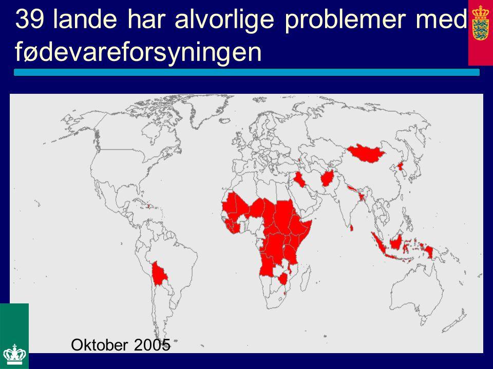 39 lande har alvorlige problemer med fødevareforsyningen Oktober 2005