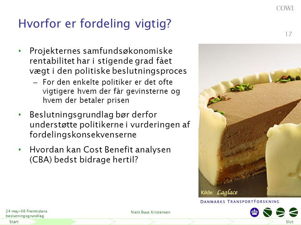 StartSlut 24 maj-06 Fremtidens beslutningsgrundlag Niels Buus Kristensen 17 Hvorfor er fordeling vigtig.