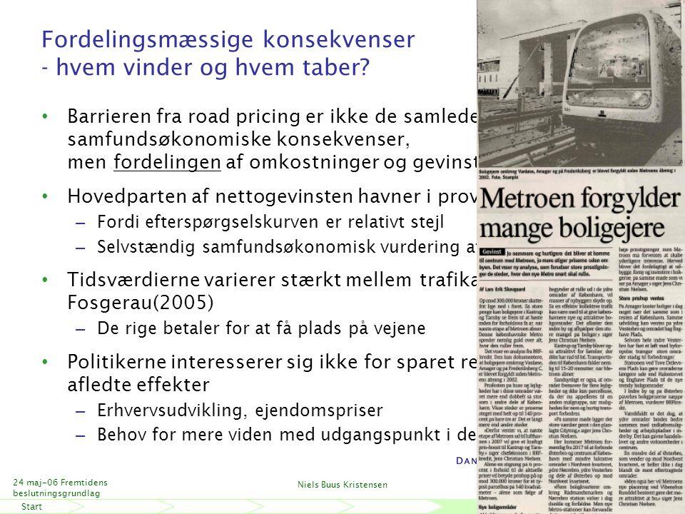StartSlut 24 maj-06 Fremtidens beslutningsgrundlag Niels Buus Kristensen 18 Fordelingsmæssige konsekvenser - hvem vinder og hvem taber.