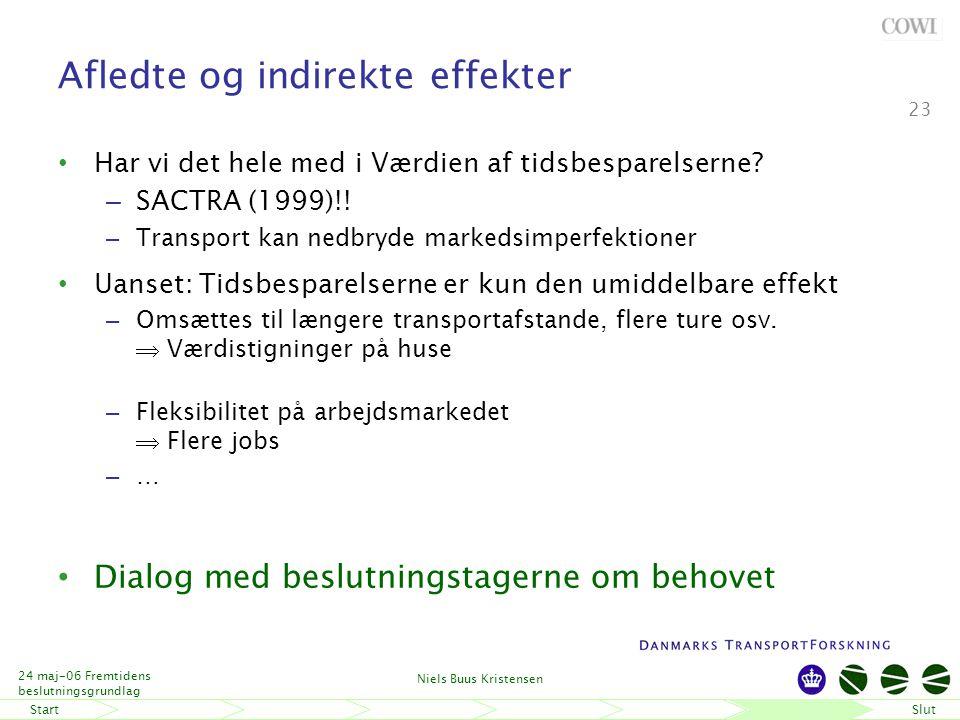 StartSlut 24 maj-06 Fremtidens beslutningsgrundlag Niels Buus Kristensen 23 Afledte og indirekte effekter Har vi det hele med i Værdien af tidsbesparelserne.