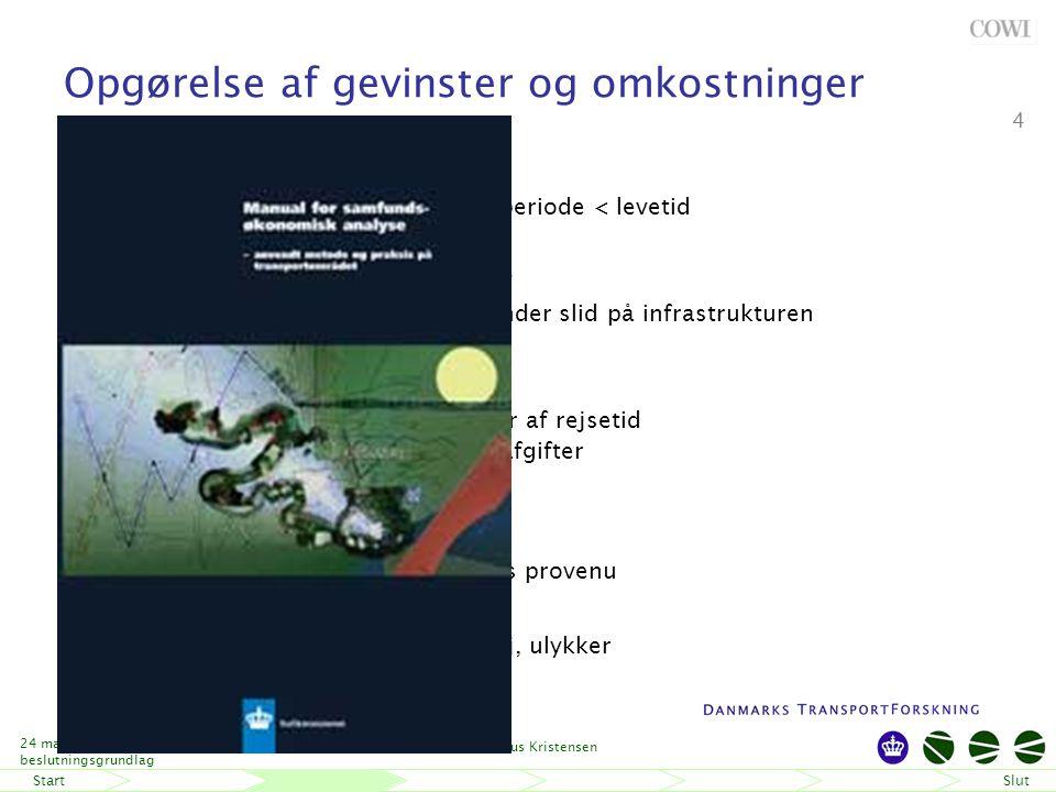 StartSlut 24 maj-06 Fremtidens beslutningsgrundlag Niels Buus Kristensen 4 Opgørelse af gevinster og omkostninger Anlægsomkostninger – Evt.