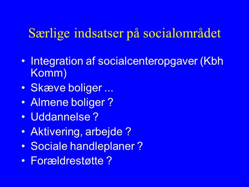 Særlige indsatser på socialområdet Integration af socialcenteropgaver (Kbh Komm) Skæve boliger...