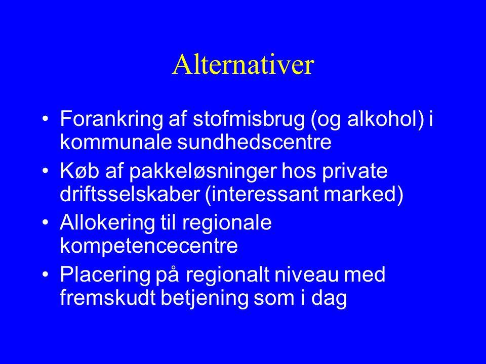 Alternativer Forankring af stofmisbrug (og alkohol) i kommunale sundhedscentre Køb af pakkeløsninger hos private driftsselskaber (interessant marked) Allokering til regionale kompetencecentre Placering på regionalt niveau med fremskudt betjening som i dag