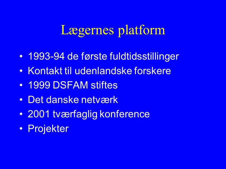 Lægernes platform 1993-94 de første fuldtidsstillinger Kontakt til udenlandske forskere 1999 DSFAM stiftes Det danske netværk 2001 tværfaglig konference Projekter