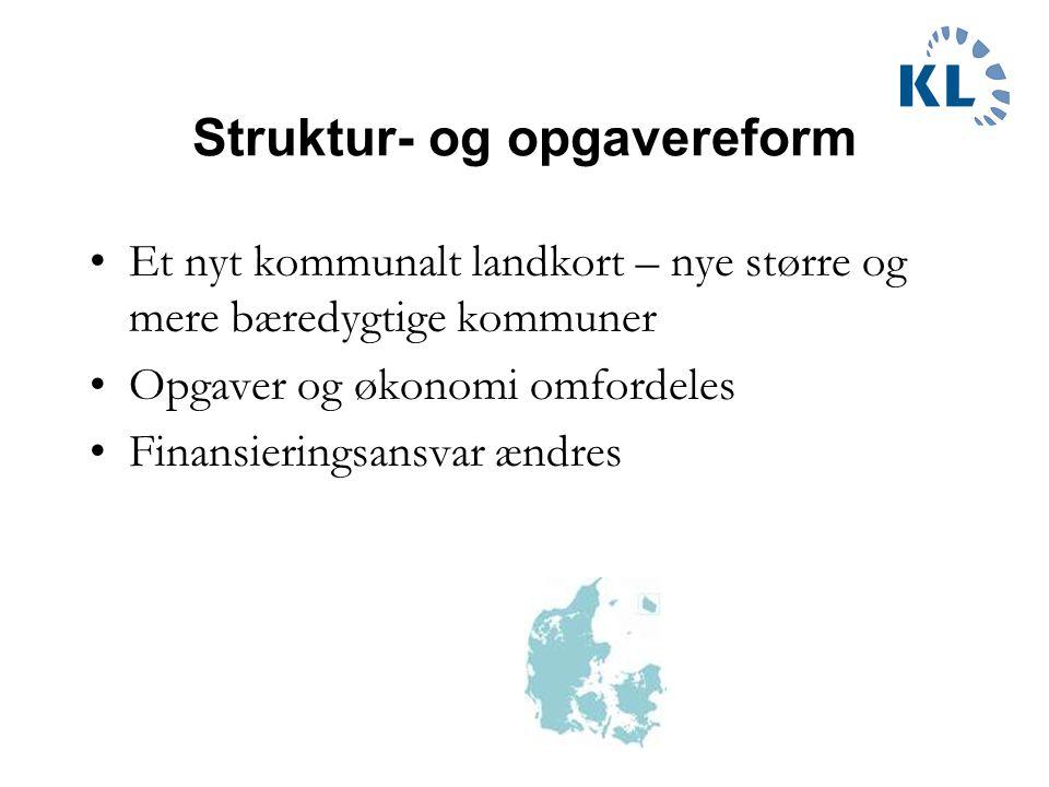 Opgavereformen Ansvar, opgaver og økonomi flyttes fra amter til henholdsvis kommuner og stat.