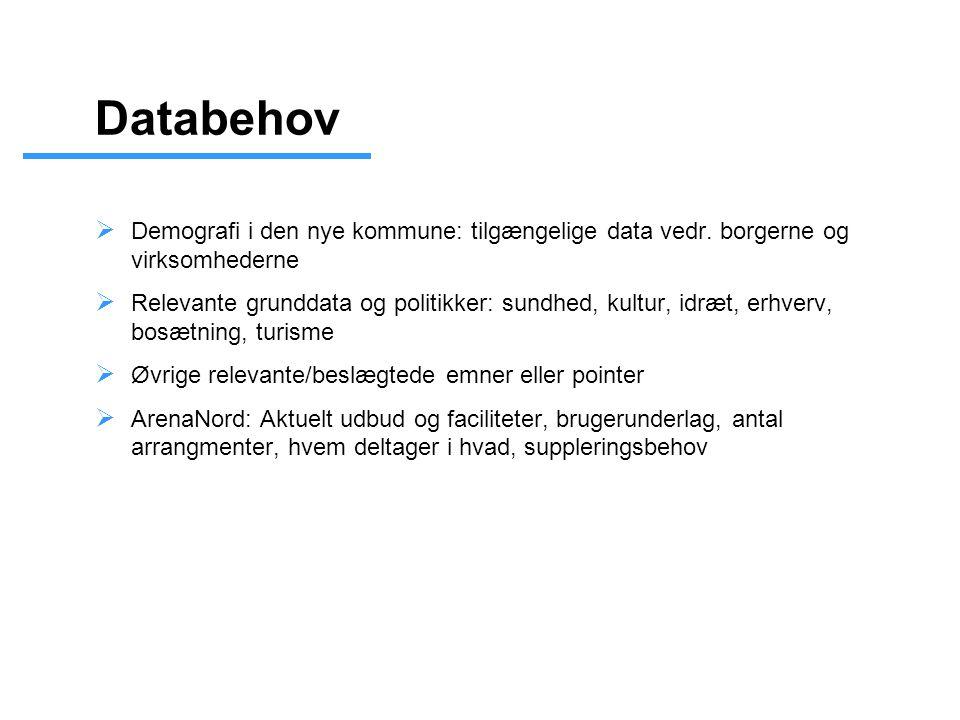 Databehov  Demografi i den nye kommune: tilgængelige data vedr.