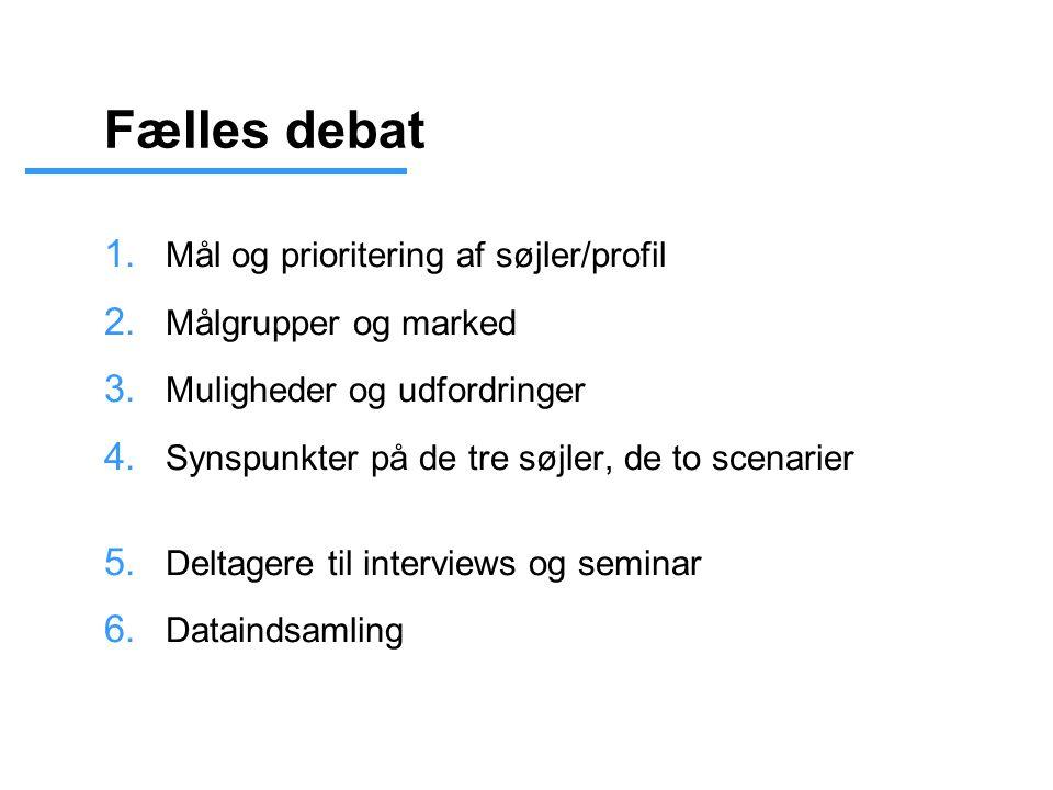 Fælles debat 1. Mål og prioritering af søjler/profil 2.