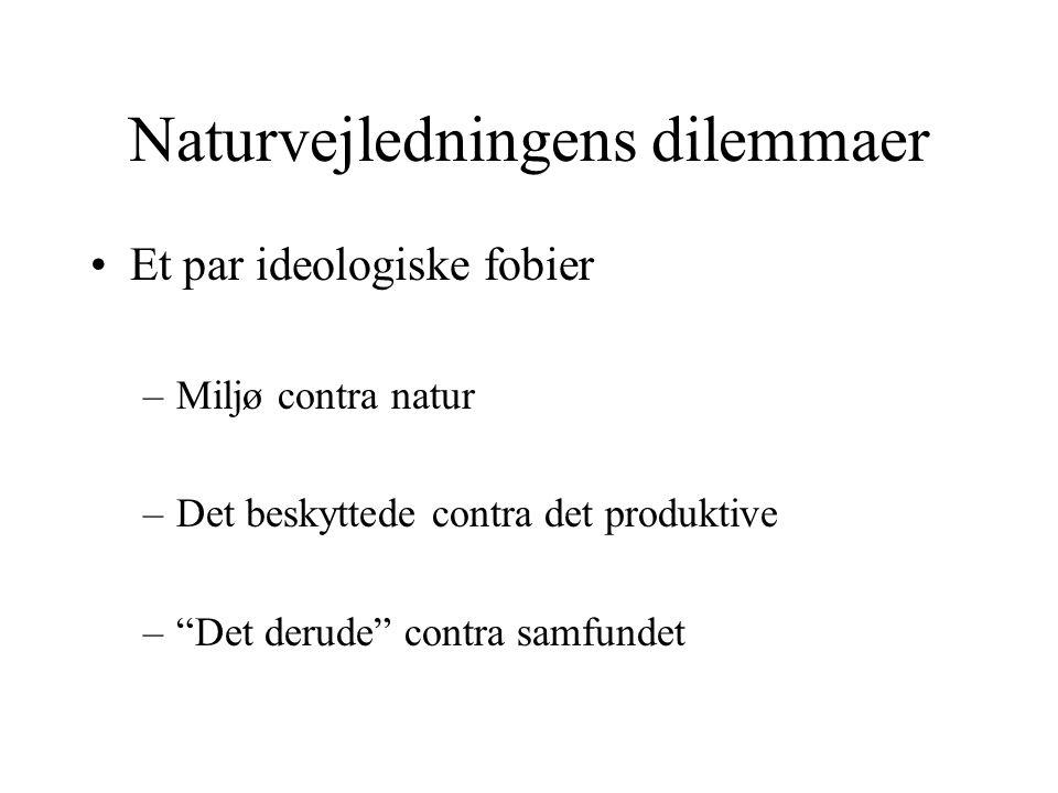Naturvejledningens dilemmaer Et par ideologiske fobier –Miljø contra natur –Det beskyttede contra det produktive – Det derude contra samfundet