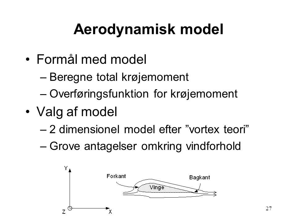 27 Aerodynamisk model Formål med model –Beregne total krøjemoment –Overføringsfunktion for krøjemoment Valg af model –2 dimensionel model efter vortex teori –Grove antagelser omkring vindforhold