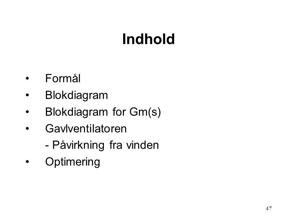 47 Indhold Formål Blokdiagram Blokdiagram for Gm(s) Gavlventilatoren - Påvirkning fra vinden Optimering