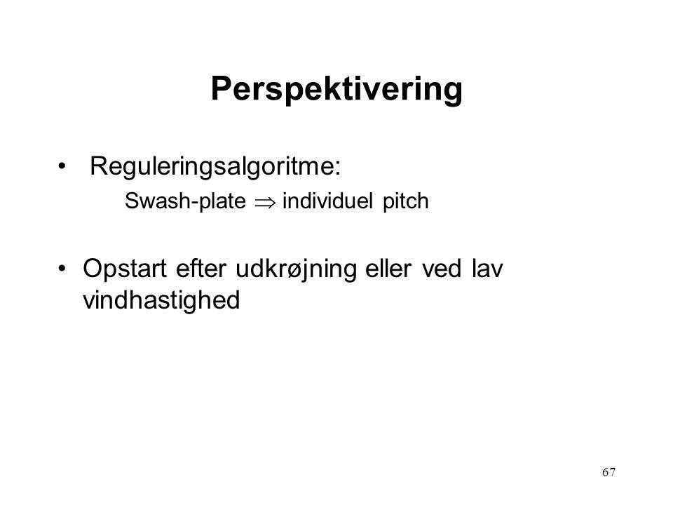 67 Perspektivering Reguleringsalgoritme: Swash-plate  individuel pitch Opstart efter udkrøjning eller ved lav vindhastighed