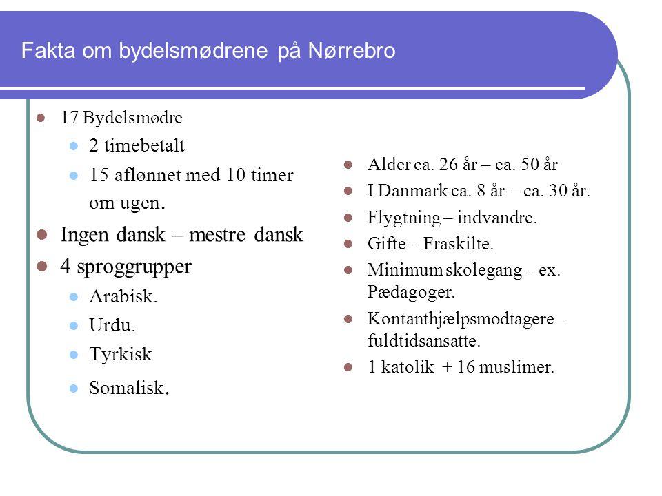 Fakta om bydelsmødrene på Nørrebro 17 Bydelsmødre 2 timebetalt 15 aflønnet med 10 timer om ugen.