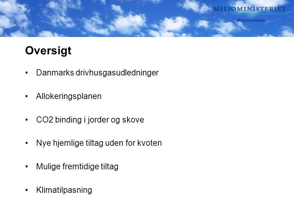 Oversigt Danmarks drivhusgasudledninger Allokeringsplanen CO2 binding i jorder og skove Nye hjemlige tiltag uden for kvoten Mulige fremtidige tiltag Klimatilpasning