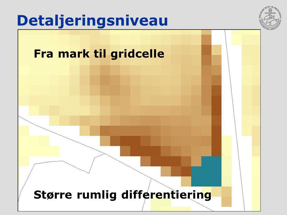 Detaljeringsniveau Fra mark til gridcelle Større rumlig differentiering